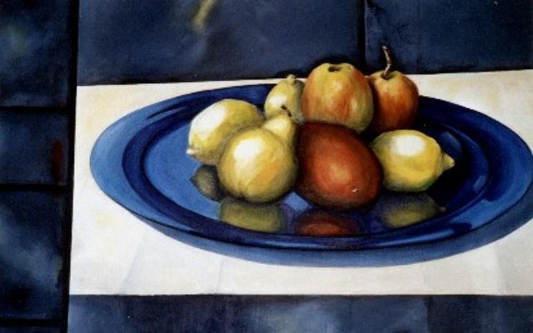 Früchte auf blauem Teller