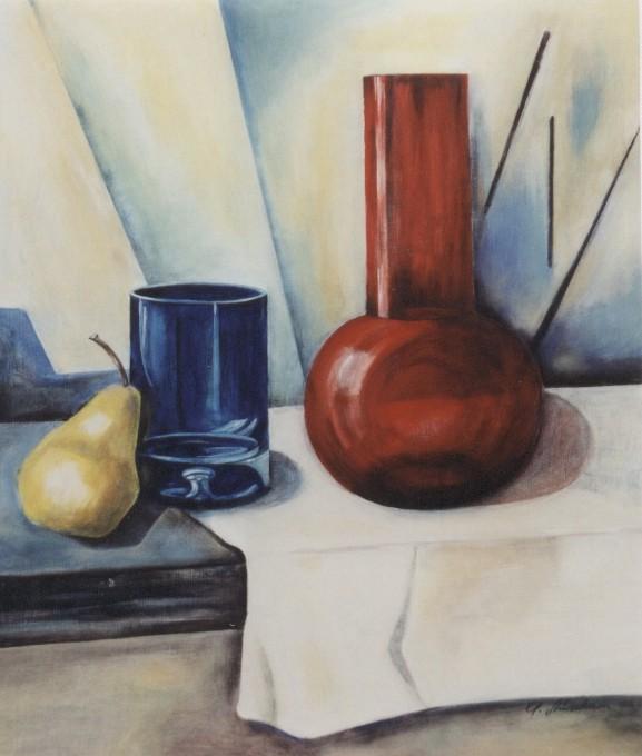 Stillleben mit roter Vase