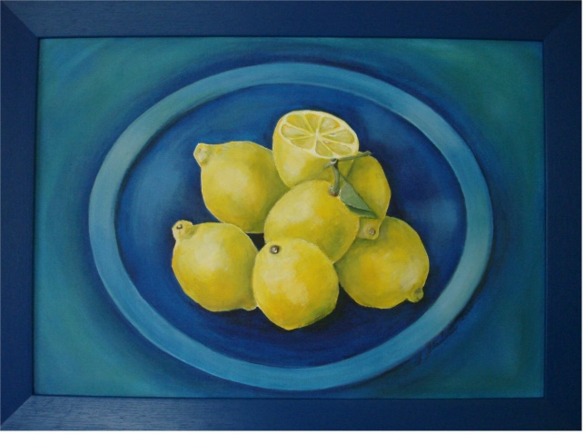 Zitronen auf Blau